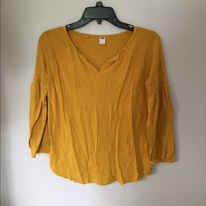 Mustard yellow 3/4 sleeve top from Old Navy